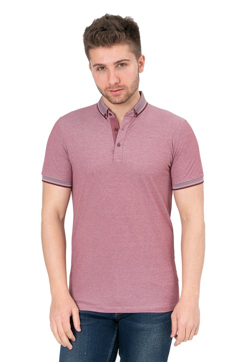 White Stone Santiago de los Caballeros Slim Fit Oxford T-Shirt Bordo